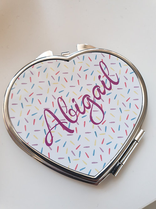 Personalised Heart Shape Mirror - Teenager, Girls, Ladies Make Up Mirror