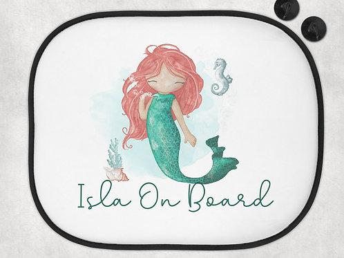 Mermaid Car Sun Shade - Personalised Baby Car Sun Shade - Printed With Any Name