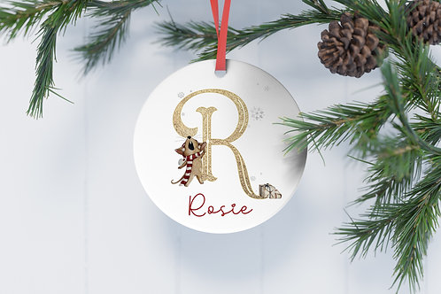 Personalised Christmas Tree Decoration Flat Aluminium Bauble