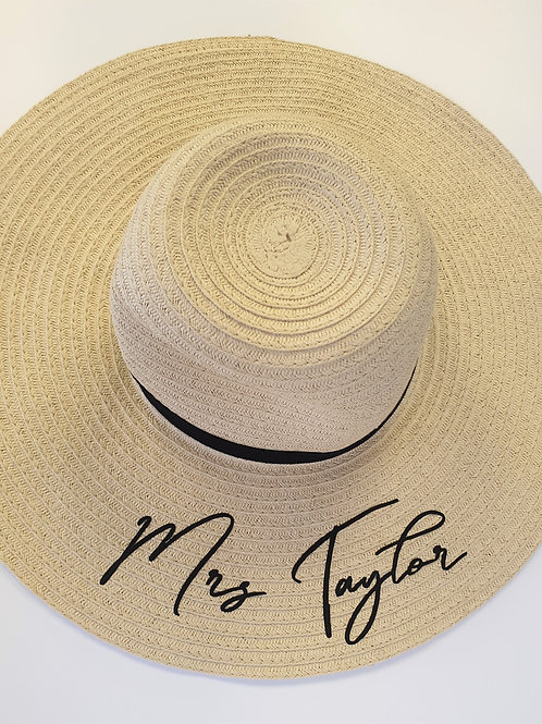 Mrs Personalised Honeymoon Straw Sun Hat Bride To Be Hat Perfect for Honeymoon o