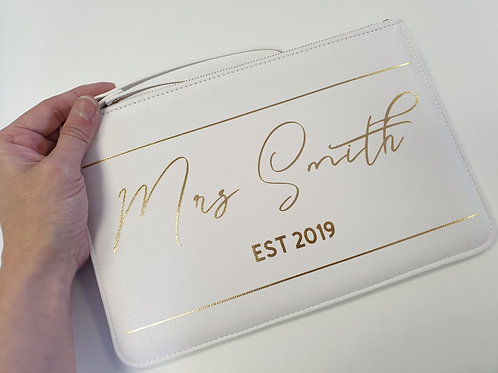 Bride Personalised Soft White Boutique Accessory Purse Pouch Travel Documents