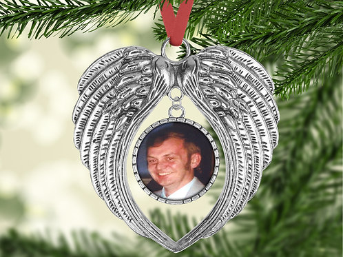 Personalised Photo Angel Wings Christmas Tree Decoration Someone In Heaven