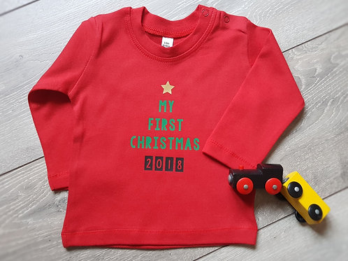 My First Christmas 2020 Long Sleeve T-shirt Top 3-6 months upwards
