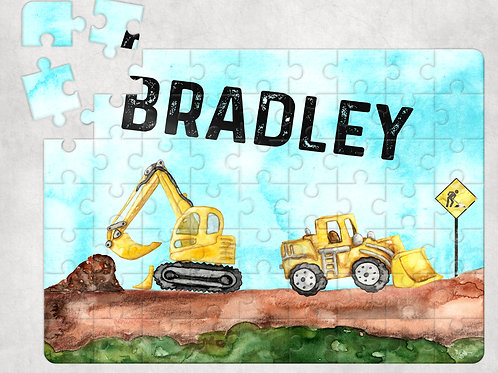 Personalised Digger Construction Site Jigsaw Puzzle - Perfect For Kid's Birthday