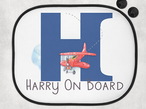 Plane Baby On Board - Aeroplane Car Sun Shades - Personalised Baby On Board Sign
