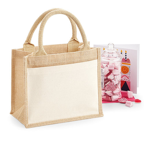 Westford Mill Cotton Pocket Jute Gift Bag - Small Size (W425)