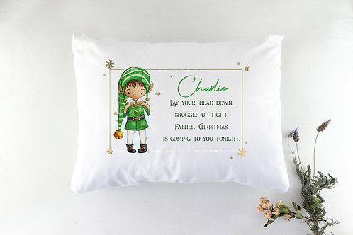 Personalised Elf Christmas Eve Pillowcase