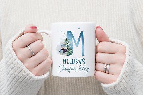 Personalised Snowman Initial Name Christmas Mug - Perfect Hot Chocolate Mug