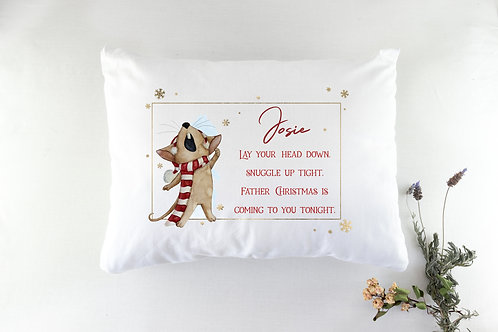 Personalised Mouse Christmas Eve Pillowcase