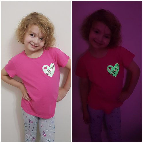 Girls Personalised Heart Name Glow In The Dark T-Shirt