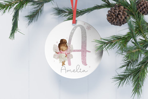 Personalised Christmas Tree Decoration Flat Aluminium Bauble Lilac Fairy