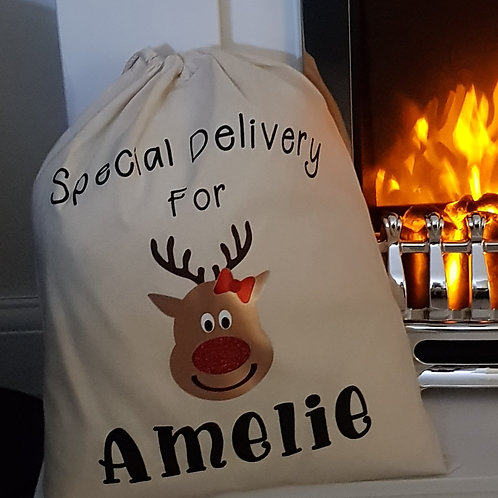 Personalised Small Christmas Sack Boys or Girls Design Perfect For Filling