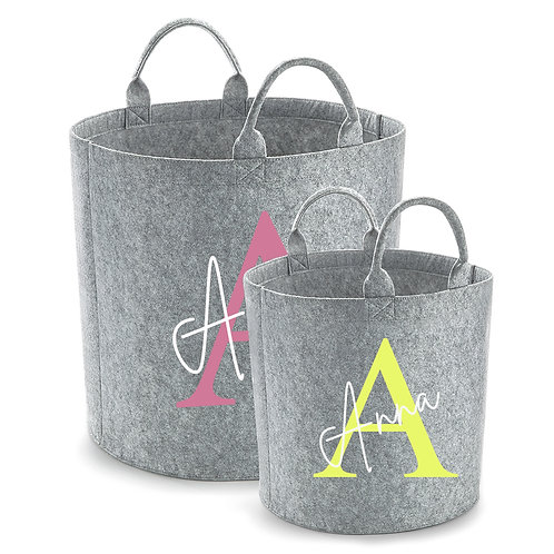 Personalised Grey Dark Grey Felt Toy Storage Trug