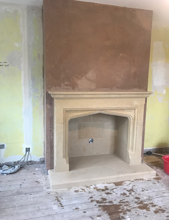 A beautiful new Dovedale fire surround in Bath Stone.