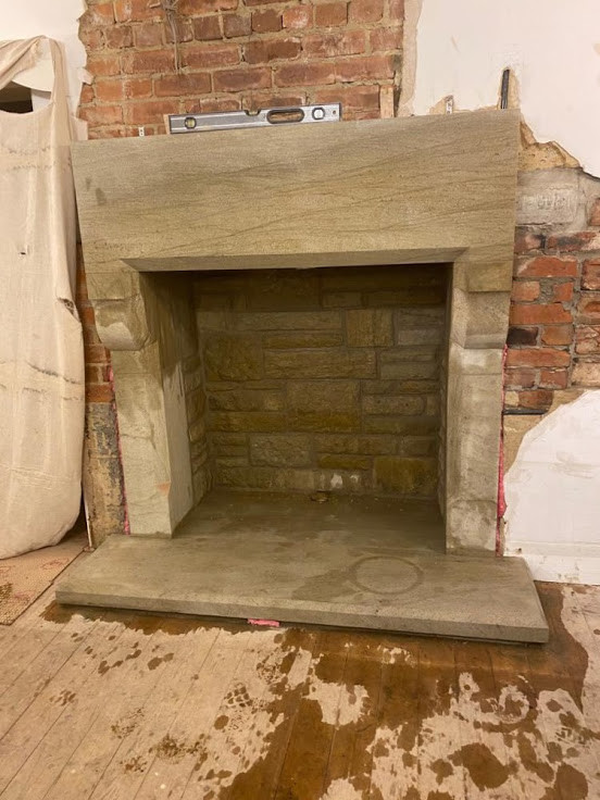 The head of the fire surround is installed and ...