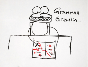 A bug-eyed gremlin creature grading a paper with a red pen.