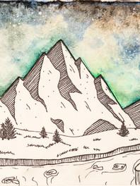 Mountains Landscape Watercolor