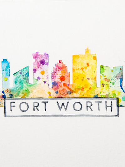 Fort Worth Skyline Watercolor