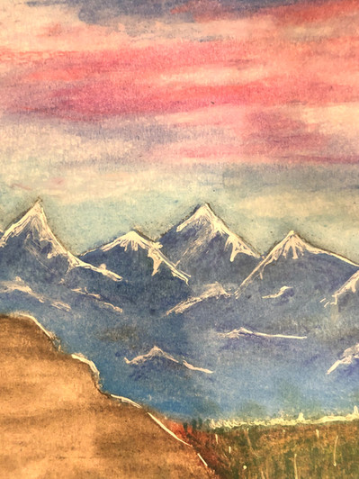 Mountains Sunset Lamdscape Oil Pastels