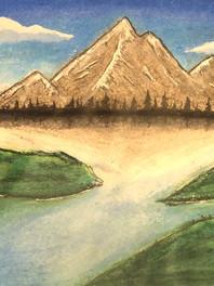 Mountain Landscape Oil Pastel
