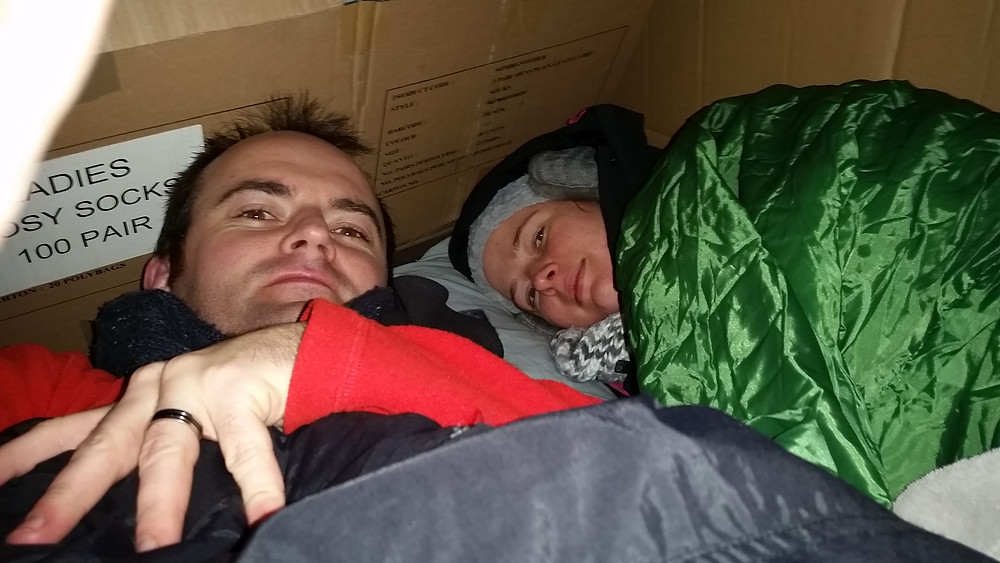 Michelle and I experiencing sleeping rough, as many 1000's do in the UK
