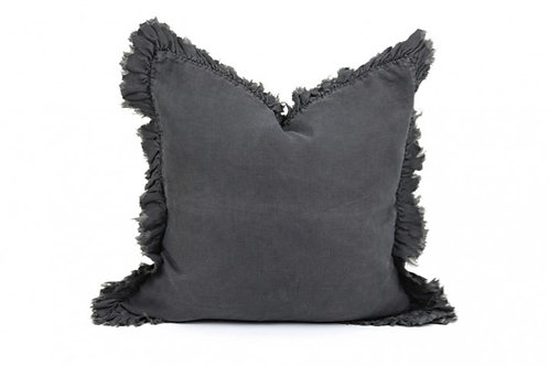 LINEN FRILL CUSHION CHARCOAL GREY