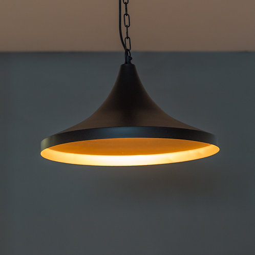 HOUSTON PENDANT LAMP SHADE TAPPER CONE-BLACK/GOLD