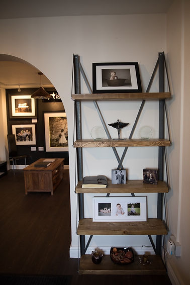 Bespoke shelving unit with reclaimed wood and steel