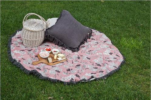 ESTATE ROSE ROUND TURKISH TOWEL/PICNIC RUG/TABLECLOTH