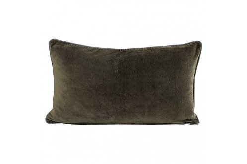 VELVET BREAKFAST CUSHION OLIVE GREEN