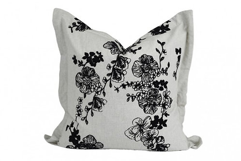 WILD ROSE FLOCK PRINT CUSHION BLACK