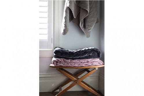 VELVET QUILTED THROW CHARCOAL