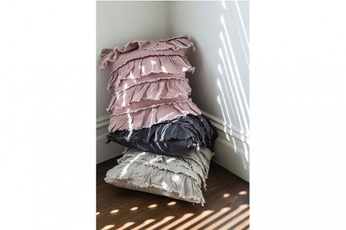 LINEN LAYER FRILL CUSHION CHARCOAL