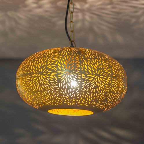 HANGING LAMP OVAL MESH DESIGN GOLD-LARGE