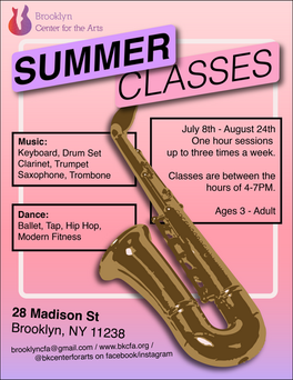 Summer Classes Promotional Flyer