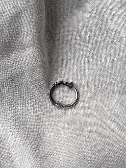 Black Silver Elephant Nail Ring