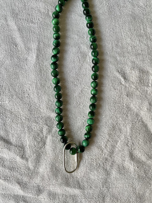 Green Tigers Eye Beads and Carabiner - Short