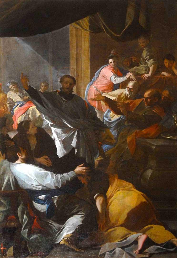 Nella foto il dipinto di Andrea Pozzo (1673), Predica di San Francesco Saverio, custodito nella Collegiata di Novi Ligure.