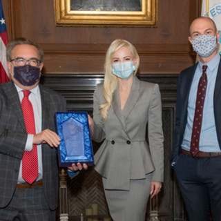 EPA Administrator Andrew Wheeler accepts Greenbaum Policy Pioneer Award from White Coat Waste Project adviser Louise Linton and WCW VP Justin Goodman at EPA headquarters in Washington, D.C., on October 14, 2020.