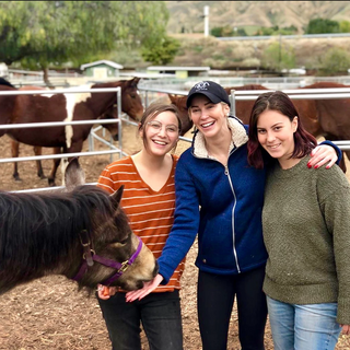 Louise pictured with the Viva Global Rescue founders Kalli and Maya while visiting the rescue.