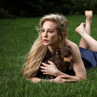 Louise photographed with rescue dog, Teddy.