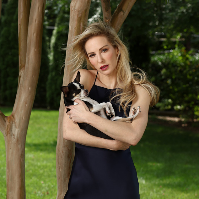 LOUISE PICTURED WITH RESCUE DOG BISOU