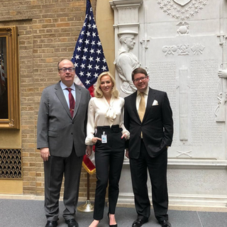 Louise pictured with Jeffrey Clark, United States Assistant Attorney General for the Civil Division and Stephen Vaden, General Counsel for the USDA while advocating for animal welfare in Washington, DC.