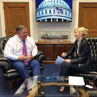 Louise pictured with Congressman Ken Calvert (R-CA 42nd District) while advocating for animal wellfare on Capitol Hill.
