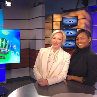 Louise pictured with Kia Freeman during her visit to The Pet Show with Dr. Katy to discuss recent wins with Justin Goodman and the White Coat Waste Project to end government testing on animals.