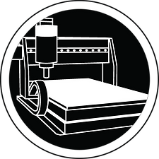 Essential drawing of a woodworking machine with spindle and plane, white on black background