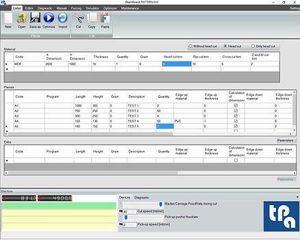 Окно со списками обработок на Tpa BeamBoard, программе для управления производственным циклом панельных пил