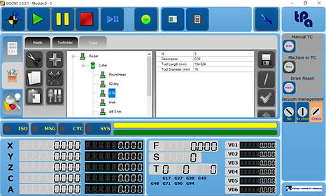 Interface of Tpa IsoCNC, Tpa numerical control that manages automations based on ISO programming