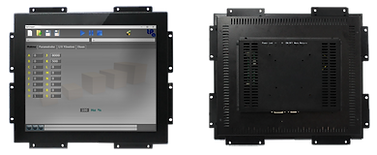 Front and back of a touch-screen TFT LCD monitor for industrial computers, 10 inches, black metal chassis