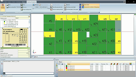Example of cutting order of regular shapes in a single panel in Tpa CADnesting, the software that automatically optimizes the available space in a panel and helps reducing waste of material